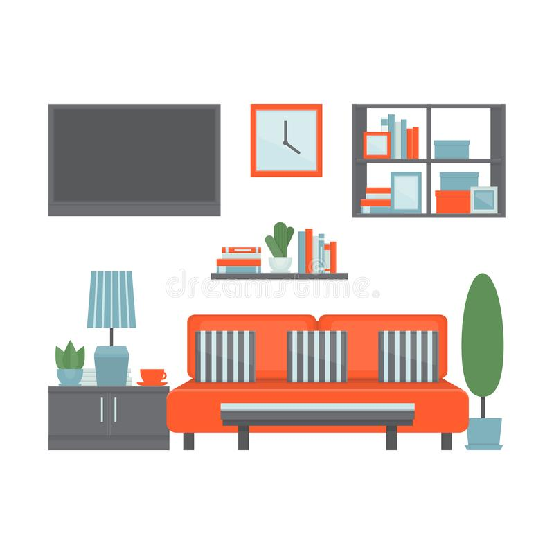 Living room modern interior with furniture and equipment. Front stock illustration