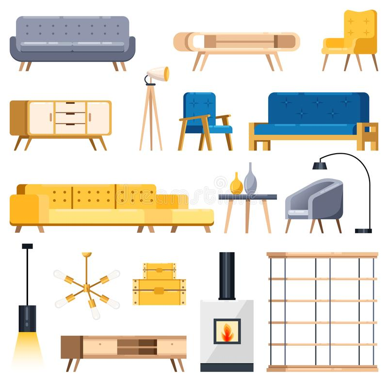 Living room modern interior isolated icons and design elements. Vector flat illustration. Cozy apartment furniture stock illustration