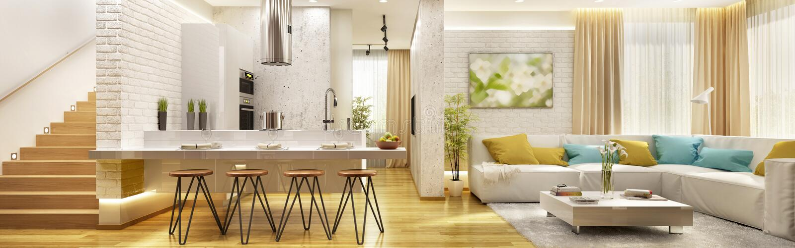Living room with modern kitchen in big house royalty free stock image