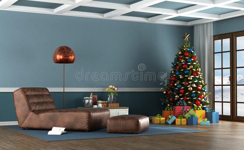 Living room of a mountain house with Christmas tree royalty free stock photography