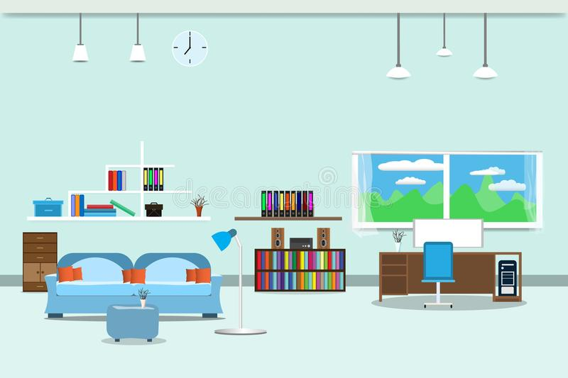 Living room or office design interior relax with sofa blue and bookshelf window in wall yellow background. vector illustration vector illustration