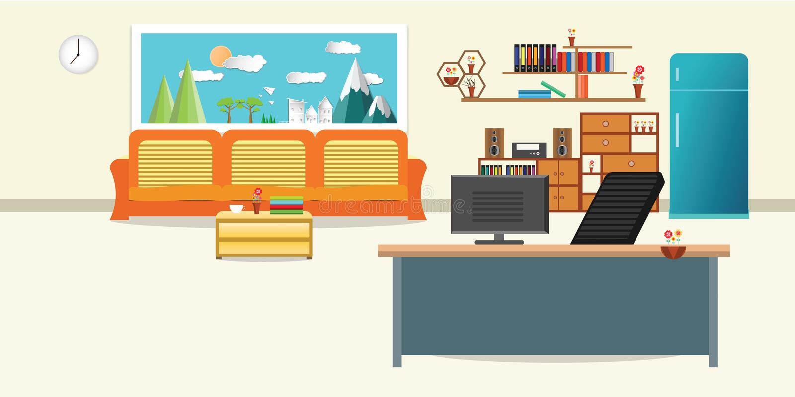 Living room and office interior flat design relax with orange sofa and Computer table - chair bookshelf refrigerator window sky cl stock illustration