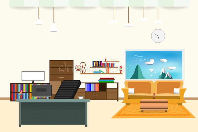 Living room and office interior flat design relax with yellow sofa and Computer table - chair bookshelf window sky cloud landscape vector illustration