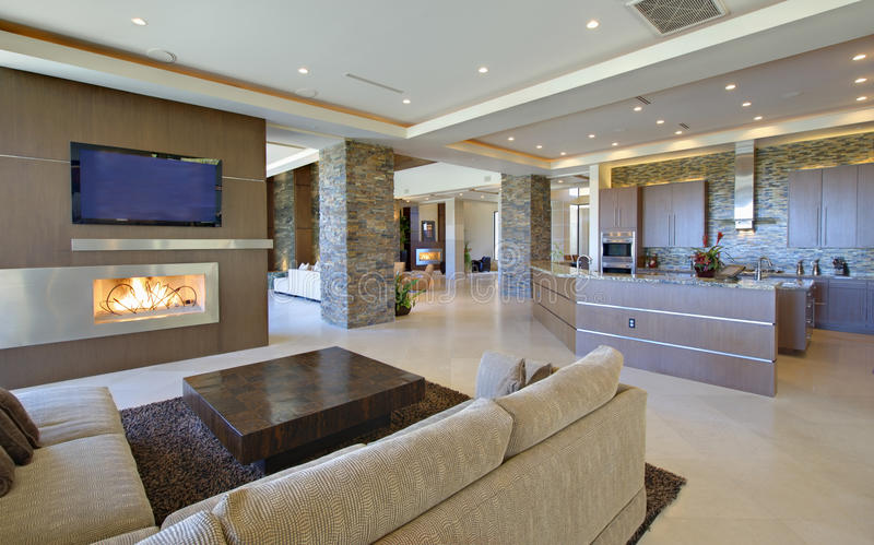 Living Room With Open Kitchen royalty free stock images