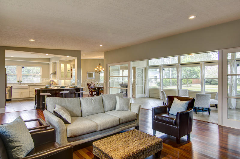 Living room. Open space living room looking towards kitchen stock images