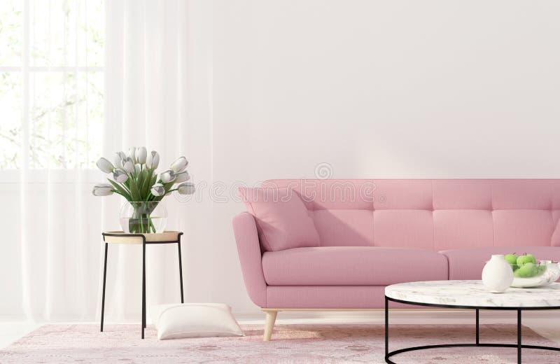Living room with a pink sofa. 3D illustration. Interior of the living room with a pink sofa royalty free illustration