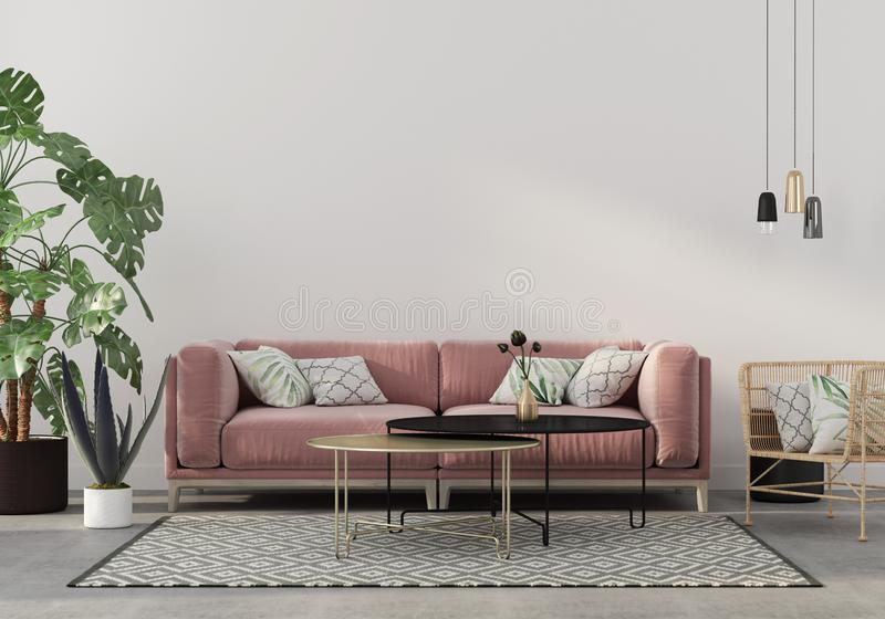 Living room in pink with velvet sofa. Stylish living room interior in pink with a concrete floor, velvet sofa, wicker chair, golden table, chandeliers and royalty free illustration