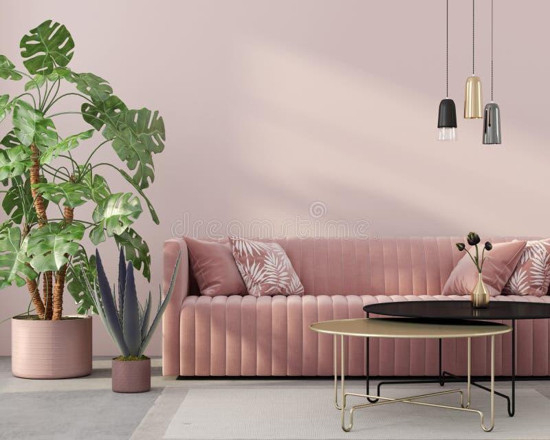 Living room in pink with velvet sofa. Stylish living room interior in pink with a concrete floor, velvet sofa, golden table, chandeliers and tropical plants / 3D vector illustration