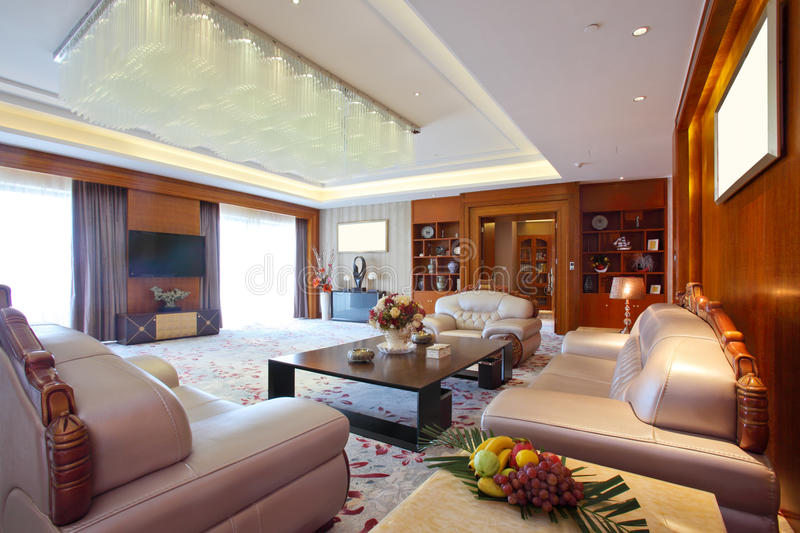 Living room of presidential suite at the day time royalty free stock photo