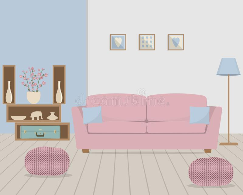 Living room in retro style with a pink sofa. Living room in retro style. There is a pink sofa with blue pillows, knitted pouffes, a lamp, shelves with home decor royalty free illustration