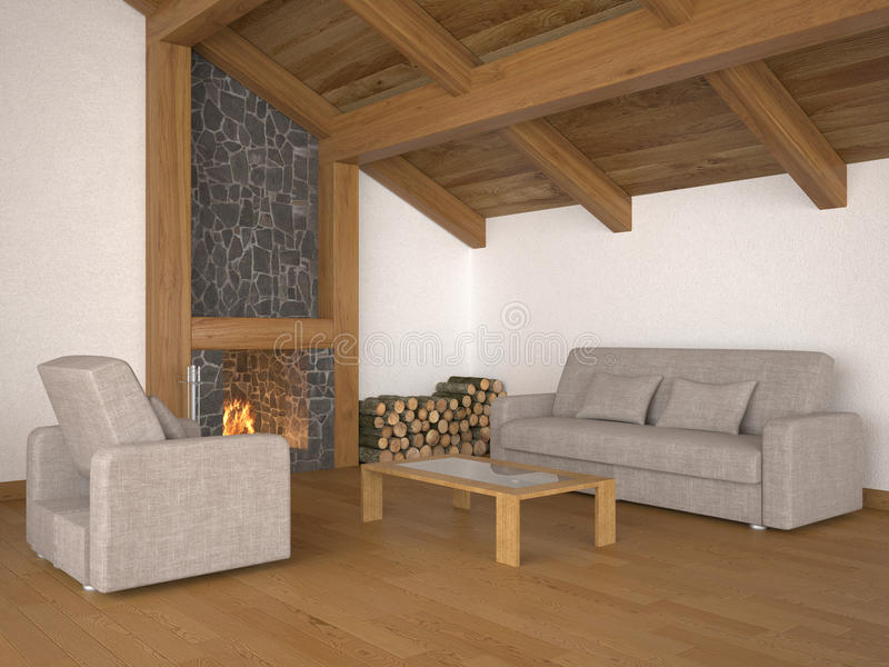 Download Living Room With Roof Beams And Fireplace Stock Illustration - Image: 18107159