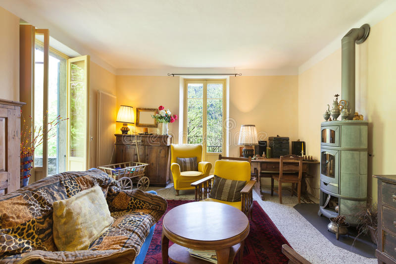 Living room of a rustic home royalty free stock image