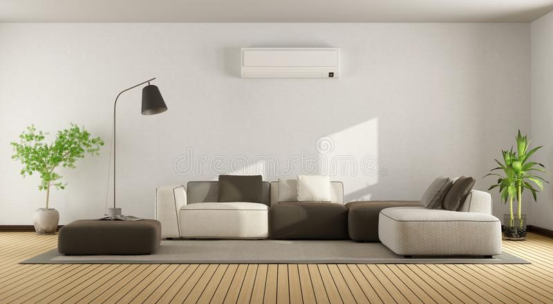 Living Room With Sofa And Air Conditioner Stock Illustration ...