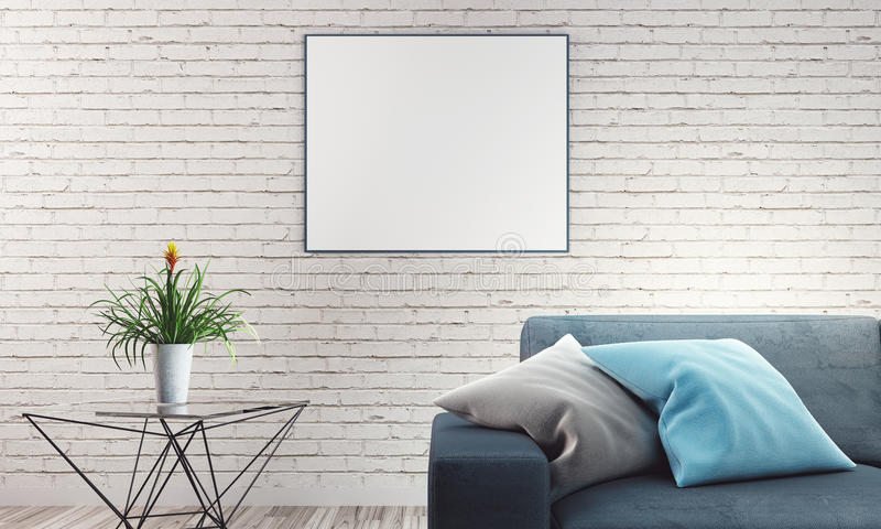 Living room with sofa and white brick wall stock illustration