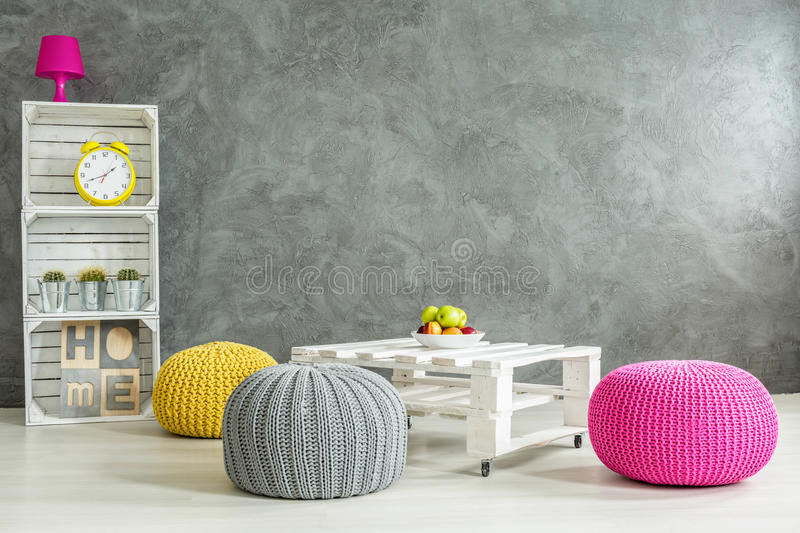 Living room with trendy look stock photo