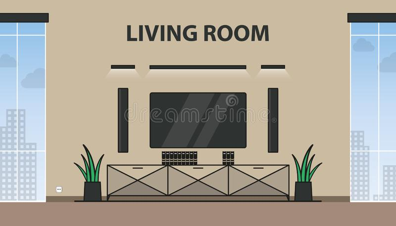 Living Room With TV, Lights, Closet, Flowers And Windows - Modern Colorful Vector Illustration stock illustration