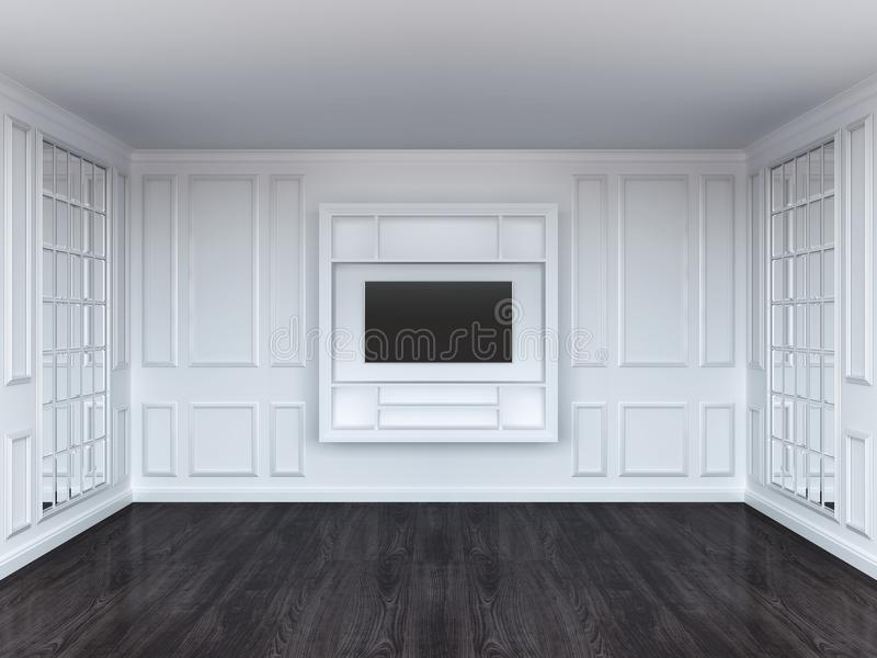 Living room with tv shelf and mirrors. White interior. Dark wood floor royalty free illustration