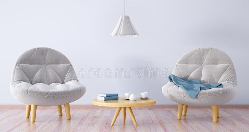 Living room with two armchairs, coffee table 3d rendering vector illustration