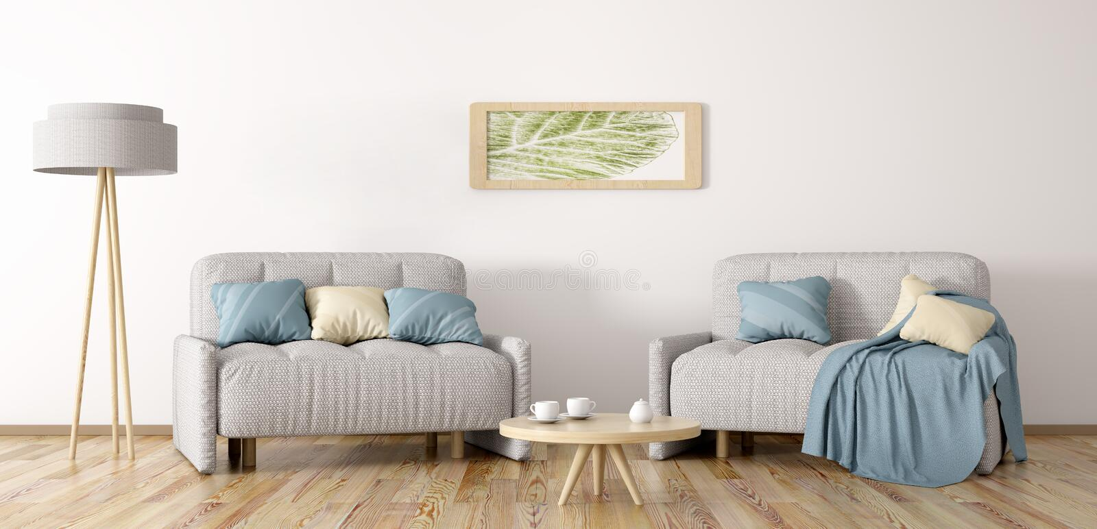Living room with two armchairs 3d rendering. Living room with two armchairs, coffee table and lamp, 3d rendering royalty free illustration
