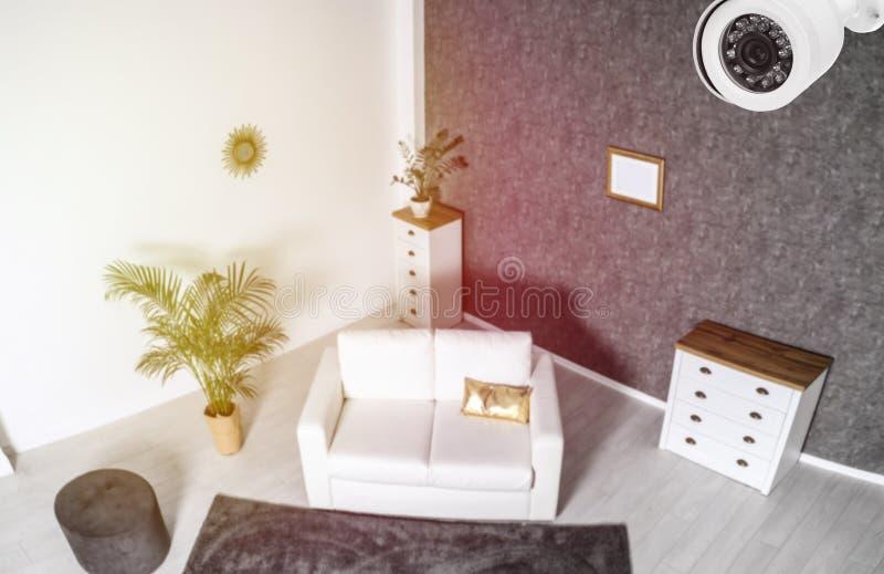 Living room under CCTV camera surveillance. Above view stock image