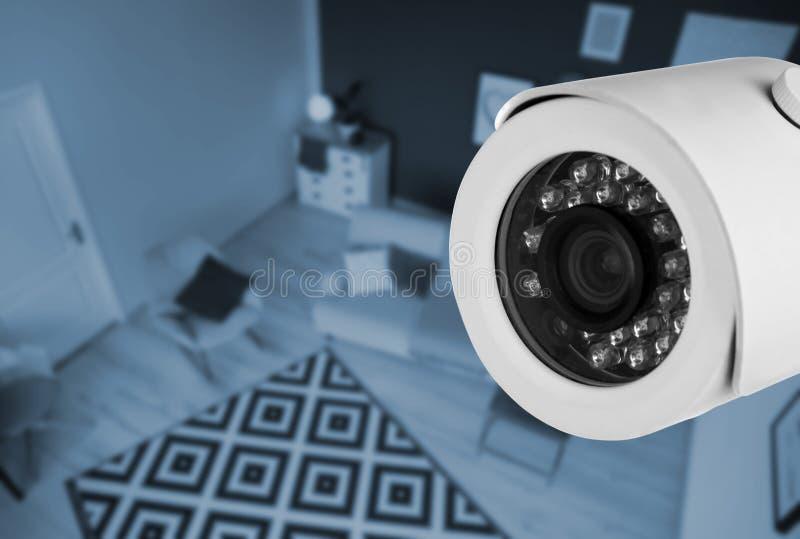 Living room under CCTV camera surveillance. Above view stock photos