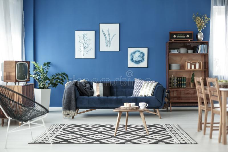 Living room view in apartment stock images