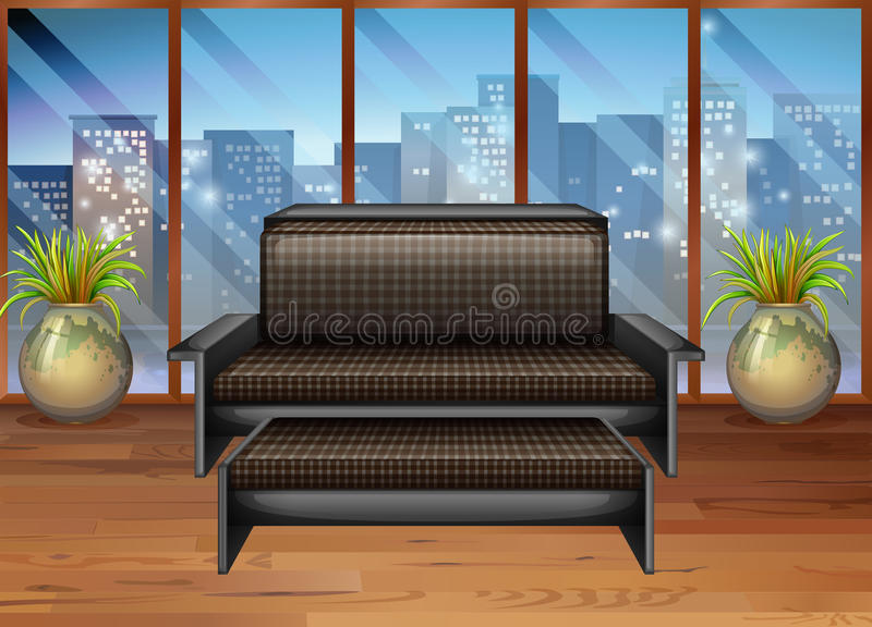 Living room with view from window. Illustration royalty free illustration