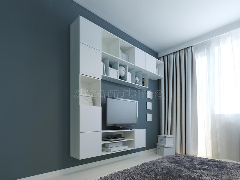 Living room with wall cabinet trend. White wall cabinets and LCD TV near a window. Wall painted in navy color. Gray woolen carpet. 3D render stock photo