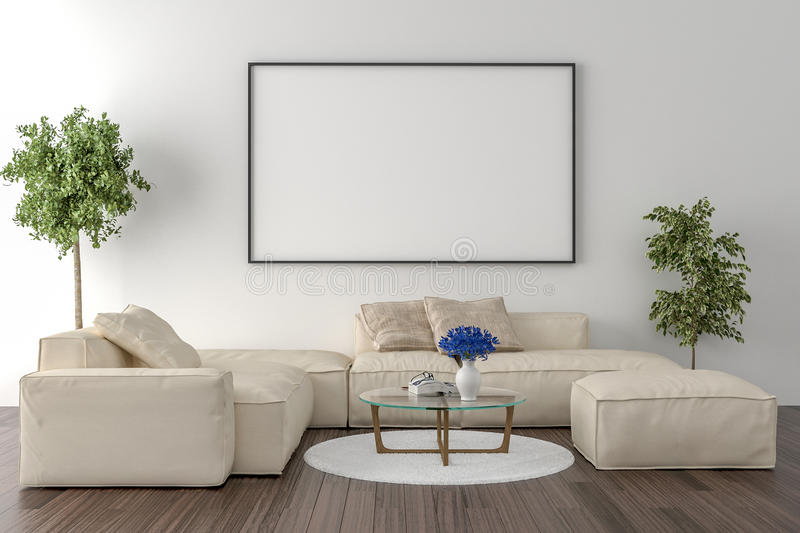 Living Room On The Wall An Empty Picture Frame Stock