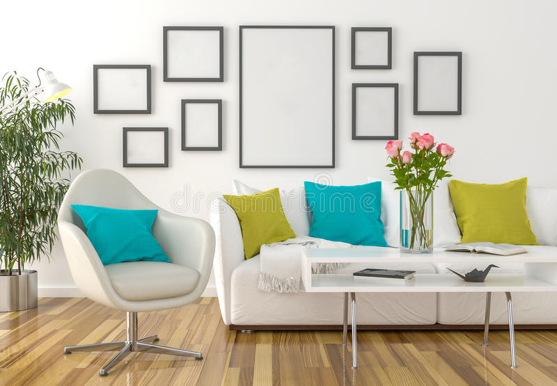 Living room - on the wall empty picture frames royalty free stock photos