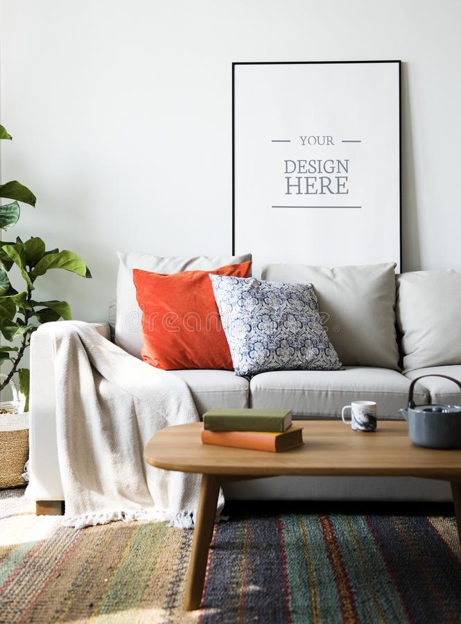 Living room with wall frame mockup stock photography