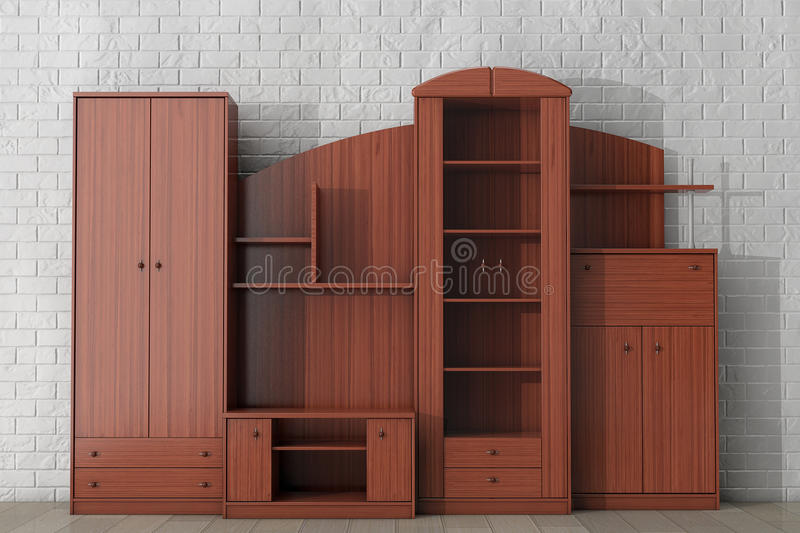 Living Room Wall Unit. 3d rendering. Living Room Wall Unit in front of brick wall. 3d rendering royalty free stock images