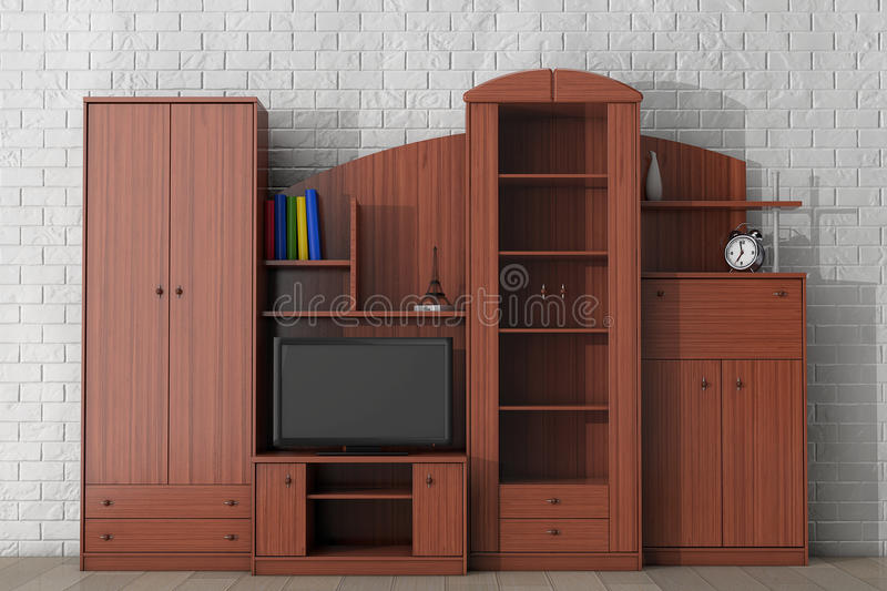 Living Room Wall Unit. 3d rendering. Living Room Wall Unit in front of brick wall. 3d rendering royalty free stock photography