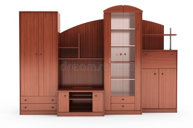 Living Room Wall Unit. 3d rendering. Living Room Wall Unit on a white background. 3d rendering stock photo