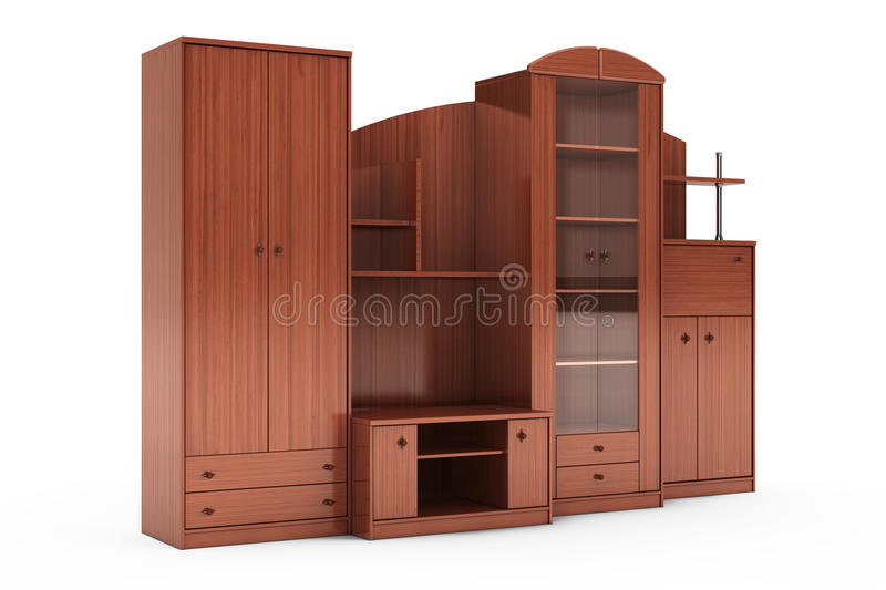 Living Room Wall Unit. 3d rendering. Living Room Wall Unit on a white background. 3d rendering stock photography