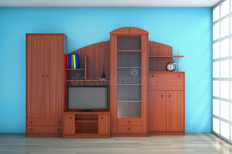 Living Room Wall Unit. In front of blue wall stock images