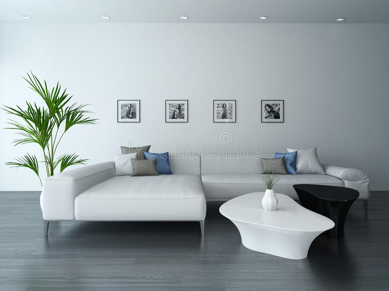 Download Living Room With White Couch And Portraits Stock Illustration    Image: 40434425