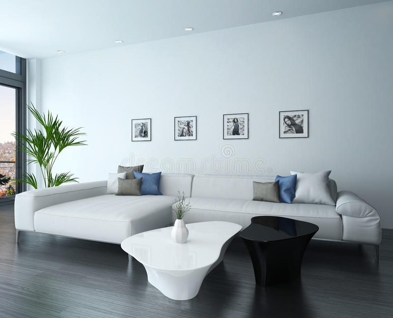 Superior Download Living Room With White Couch And Portraits On Wall Stock  Illustration   Image: 40434472