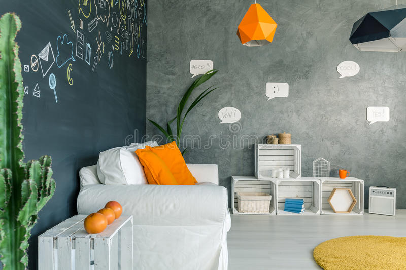 Living room with white furniture stock photos