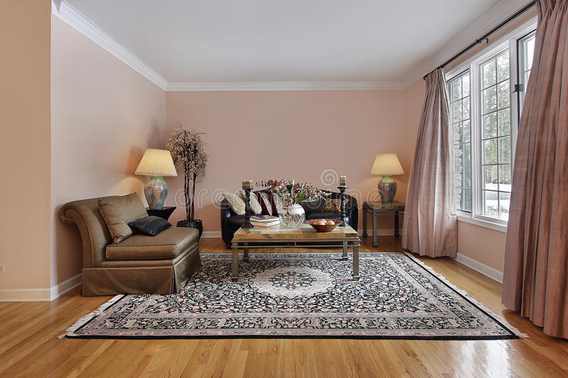 Living room with wood floors royalty free stock photography