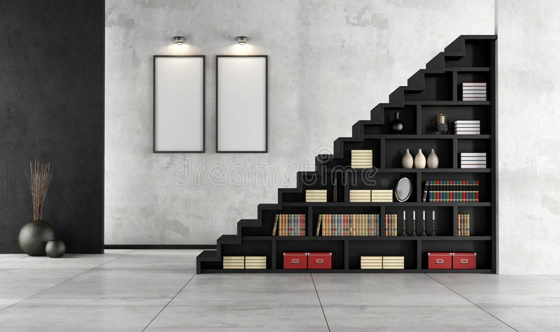 Living room with wooden staircase and bookcase stock illustration