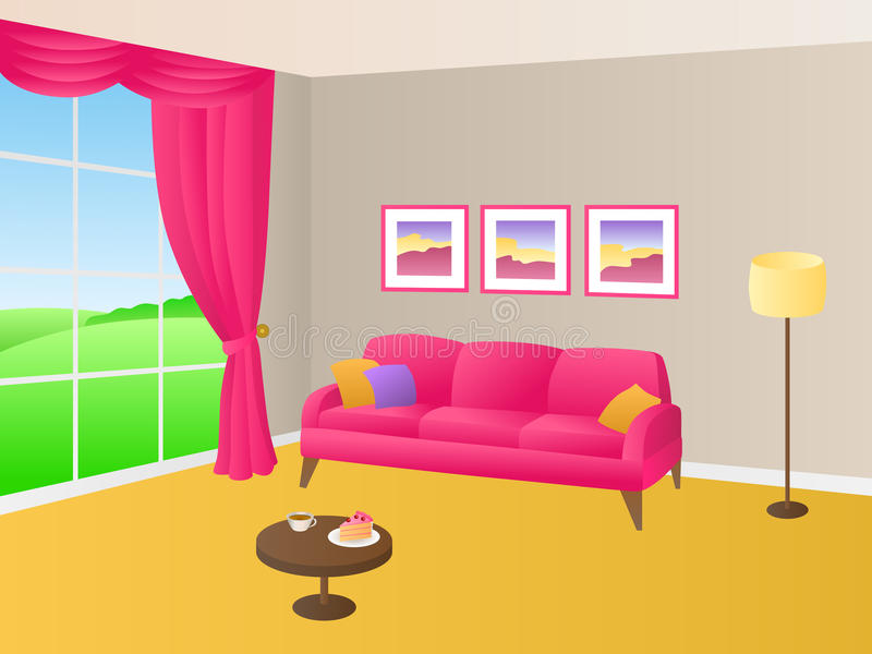 Living Room Yellow Pink Sofa Pillows Lamp Window Illustration Stock ...