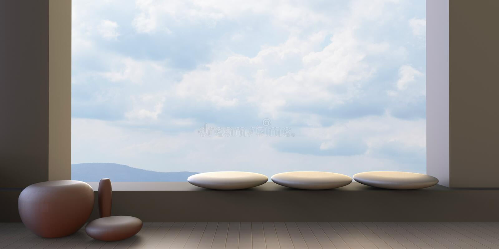 Living rooms modern and window on chair Sky view. Living rooms modern / Window view overlooking on Beautiful Blue Sky vector illustration