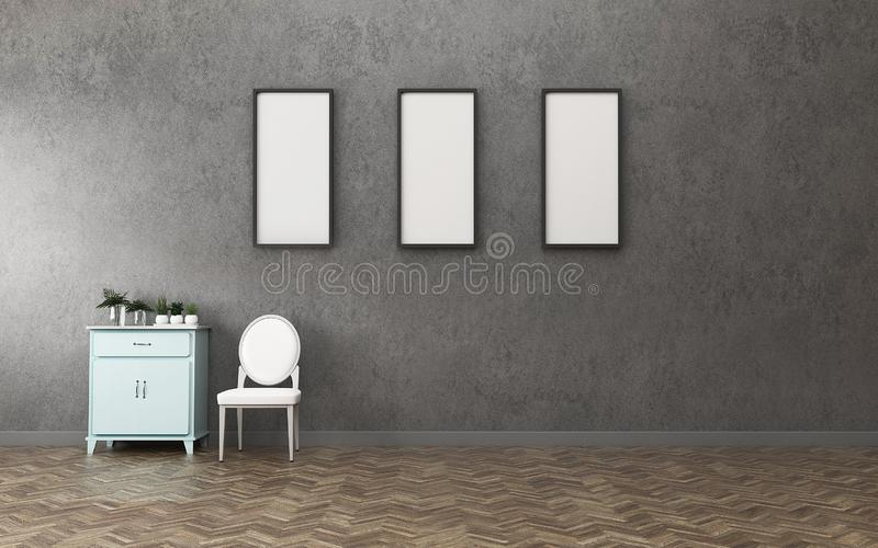 Living space in condominium. empty room with three white board and cabinet. vintage interior design. 3d rendering stock illustration