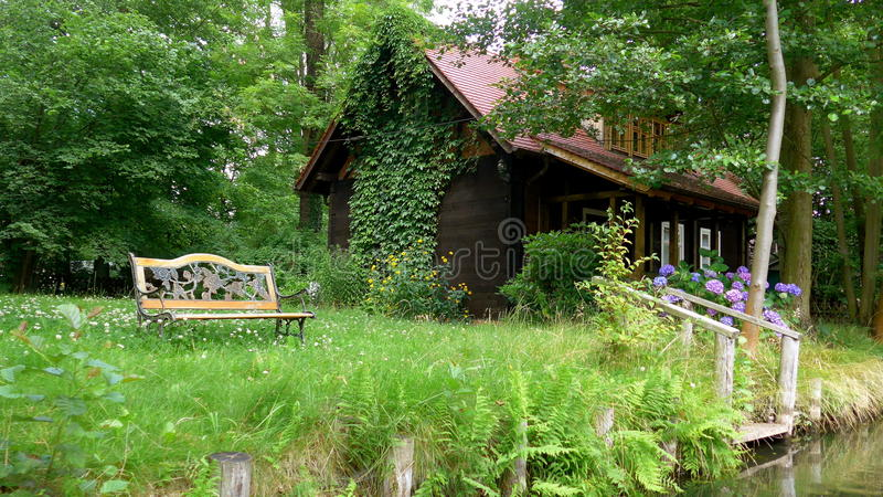 Living at the Spreewald, Germany. An old cottage near the canal stock photo