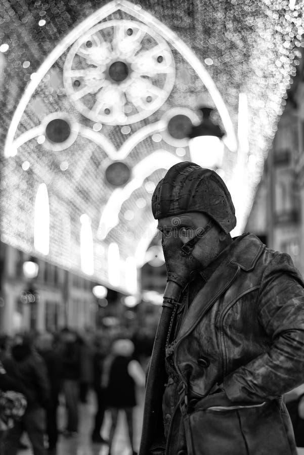 Free Living Statue At Malaga Christmas Lights. Royalty Free Stock Photo - 105946755