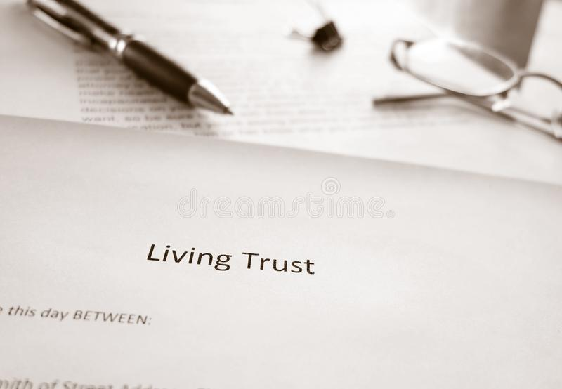 Living Trust estate planning. A Living Trust estate planning document stock image