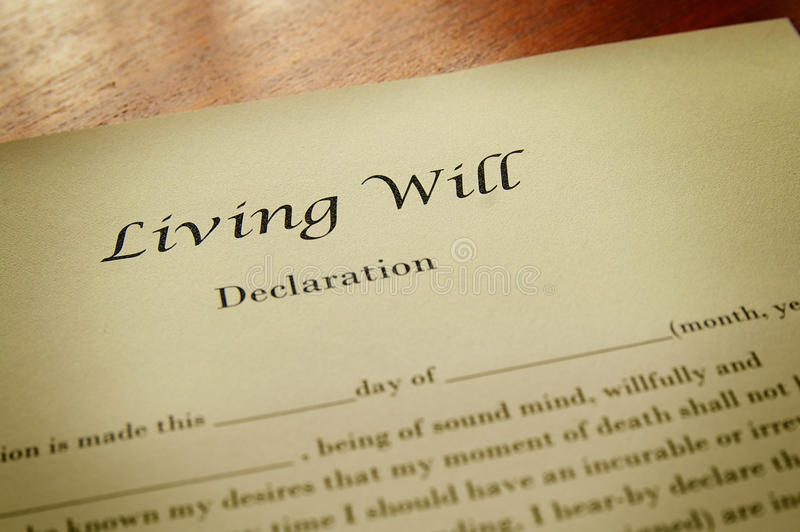 Living will. Macro of a living will document stock photos