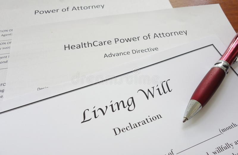 Power of Attorney and Living Will. Living Will, HealthCare, and Power of Attorney documents royalty free stock image