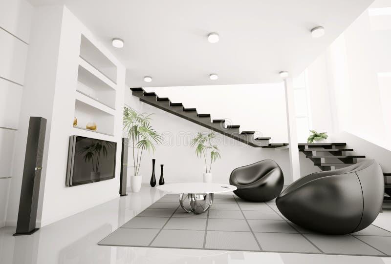 livingen för interioren 3d framför lokal royaltyfri illustrationer